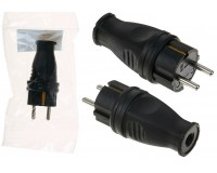 Сетевая вилка SmartBuy 16A 250В прямая каучуковая с заземлением, 2P+PE, IP44 белая (SBE-16-P07-R)