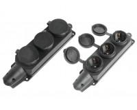 Сетевая колодка SmartBuy 3 роз. 16А, 3500Вт 2P+PE с защитными крышками каучуковая, IP44 черный (SBE-16-3-00-R)