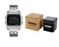 Часы наручные Skmei 1368 электронные (дата, будильник, секундомер), сталь, стекло, браслет, подсветка