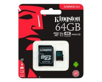 Флэш карта microSDXC 64 GB Kingston Class 10 Canvas GO! cl10 90R/45W U3 UHS-I V30 с адаптером