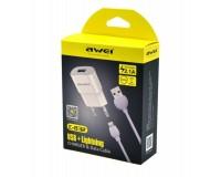 Зарядное устройство Awei C-832 2100 mA 1xUSB, выходной ток: USBx2.1A, + кабель iPhone5 1м, коробка