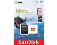 Флэш карта microSDHC 32 GB SanDisk Class 10 Extreme UHS-I Action Cam U3 4K 100MB/s с адаптером