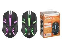 Мышь Defender Cyber MB-560L USB Optical (1200 dpi) черная, 2 кнопки+кнопка-колесо, 7 цветов подсветки, коробка (52560)