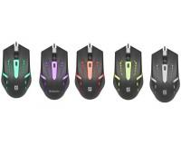 Мышь Defender HIT MB-601 USB Optical (800-1200 dpi) черная, 3 кнопки+кнопка-колесо, 7 цветов подсветки, блистер