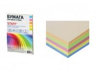 Бумага офисная STAFF 110891 А5 плотность:80 г/м2 белизна: микс , пастель 100 листов(5 цветов по 20 листов: голубой, желтый, оранжевый, розовый, салатовый)