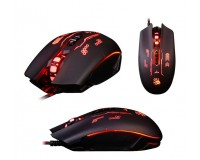Мышь игровая A4Tech Q80B Bloody USB Optical (500/1000/1200/1600/2000/3200 dpi) черная, 8 кнопок+колесо-кнопка металлические ножки: свыше 300 км., время отклика: 1 мс., скорость: 6666 fps., X 'Glide Armor Boot, коробка