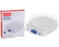 Весы кухонные Atlanta ATH-6218 электронные, цена деления 1 г. max 3 кг. сенсорные кнопки, автоотключение, размер 18, 5x21x3, 8 см белые