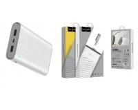 Портативное зарядное устройство HOCO B31 Rege 20000 мАч Выходной ток:1USB-2100мА , 2USB-2100мА ; входной ток: 2000мА, размер: 14.5*8.2*2.3 см, пластик, белый