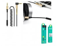 Кабель Jack 3.5 штекер-штекер HOCO длина 2м, витой, с микрофоном, коробка, черный UPA02 with Mic
