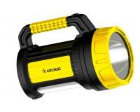 Фонарь-прожектор Космос KOCAc2005W_Ex 1 светодиод (5W), аккумулятор 4V 2Ah, 2 режима, влагозащищенный, зарядка 220В/12В, черно-желтый
