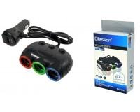 Переходник для прикуривателя OLESSON 1633 на 3 гнезда(120W)+ USB(5V/3100mA), на шнуре до 0, 6 м