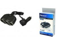 Переходник для прикуривателя OLESSON 1634 на 3 гнезда(120W)+ USB(5V/3100mA), на шнуре до 0, 6 м