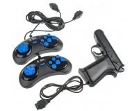 Геймпад Dendy 8-бит 05-JS набор 2 джойстика ( форма Sega) + световой пистолет, 9 pin, zip пакет