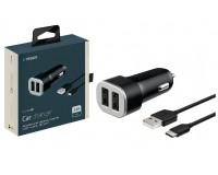 Автомобильное зарядное устройство Deppa 11284 Ultra 12/24В 2хUSB, Выходной ток: USB1-1.2A, USB2-1.2A, индикация включения, дата-кабель Type-C длина 1, 2м., коробка, черное