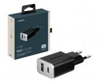 Зарядное устройство Deppa 11386 Ultra 3400 mA 2хUSB, выходной ток: USB1-1, 2A, USB Type-C-2, 2A, черное, коробка