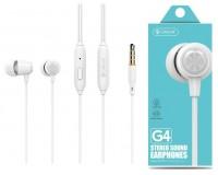 Наушники с микрофоном Celebrat G4 внутриканальные, кабель 1, 2м, кнопка ответа, белые коробка