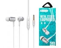 Наушники с микрофоном Celebrat G1 внутриканальные, кабель 1, 2м, кнопка ответа, белые коробка