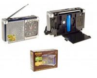 Приемник Meier M-202U аккумуляторный AUX/USB/microSD до 32Гб, питание: аккумулятор 18650 (1200мАh) - в комплете/ BL-5C - в комплект не входит, кварцевые часы