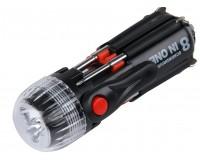 Мультиинструмент Rosenberg RPS-765007 8 в 1: отвертка шлицевая - 2шт, отвертка крестовая - 3шт, микроотвертка - 2шт, LED-фонарик , материал: пластик, металл.