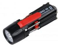 Мультиинструмент Rosenberg RPS-765010 8 в 1: отвертка шлицевая - 2шт, отвертка крестовая - 3шт, микроотвертка - 2шт, LED-фонарик , светодиодная подсветка рабочей зоны, материал: пластик, металл.