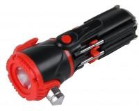 Мультиинструмент Rosenberg RPS-765012 9 в 1: отвертка шлицевая - 2шт, отвертка крестовая - 3шт, микроотвертка - 2шт, LED-фонарик , светодиодная подсветка рабочей зоны, аварийный молоток, материал: пластик, металл.