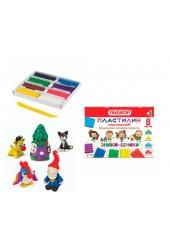 Пластилин Пифагор 104821 количество цветов в наборе: 8 цветов масса: 120 г классический, с пластиковым стеком, картонная упаковка