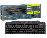 Клавиатура Defender Atlas HB-450 RU USB Black 104 клавиши+20 клавиш цвет раскладки: красный