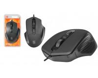 Мышь Defender MB-347 Datum USB Optica (800/1200/1600dpi) черная, 3 кнопки+колесо-кнопка, покрытие Soft Rubber Skin блистер