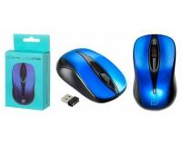 Мышь беспроводная Oklick 675MW USB Optical (800dpi) черный/синий 2 кнопок+колесо-кнопка коробка