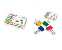Зажимы для бумаг STAFF 225157 комплект из 12шт., размер 25мм., на 100 листов, в картонной коробке, цветные
