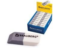 Резинки стирательные BRAUBERG 222461 , размер 41х14х8 мм, , не оставляет бумажной пыли, в картонном дисплее, серо-белая,