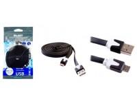 Кабель microUSB Blast длина 3.0м, плоский, cкорость передачи данных до 480 Мбит/с, пакет, черный (BMC-130)
