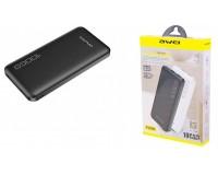 Портативное зарядное устройство Awei P28K 10000 мАч Выходной ток:1USB-1000мА , 2USB-2100мА ; входной ток: 2000мА, размер: 14*7*1.2 см , шнур USB-microUSB , пластик/металл