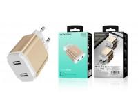 Зарядное устройство Borofone BA9A FreePlug 2100 mA USB 2хUSB, 5 В, выходной ток: USB1-2, 1А, USB2-2, 1A, общий ток 2, 1А золото, коробка