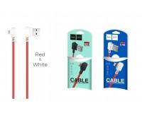 Кабель iPhone 5 HOCO длина 1, 2м, 2, 4 А, угловые штекеры, блистер красно-белый (X19 Enjoy)