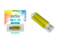 Флэш диск 16 GB USB 2.0 Perfeo E01 economy series Gold с колпачком, металлический корпус