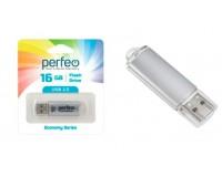 Флэш диск 16 GB USB 2.0 Perfeo E01 economy series Silver с колпачком, металлический корпус