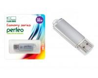 Флэш диск 32 GB USB 2.0 Perfeo E01 economy series Silver с колпачком, металлический корпус