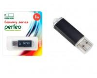 Флэш диск 8 GB USB 2.0 Perfeo E01 economy series Black с колпачком, металлический корпус