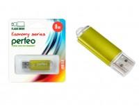 Флэш диск 8 GB USB 2.0 Perfeo E01 economy series Gold с колпачком, металлический корпус