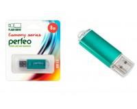 Флэш диск 8 GB USB 2.0 Perfeo E01 economy series Green с колпачком, металлический корпус