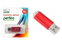 Флэш диск 8 GB USB 2.0 Perfeo E01 economy series Red с колпачком, металлический корпус
