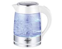 Чайник Atlanta ATH-2462 2000Вт. 1, 8л. стекло, дисковый, подсветка White