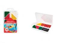 Краски акварельные BRAUBERG 191283 количество цветов: 10, медовые, треугольные кюветы, пластиковая коробка, без кисти