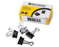 Зажимы для бумаг BRAUBERG 223969 комплект из 12шт., размер 15мм., на 45 листов, в картонной коробке, черные