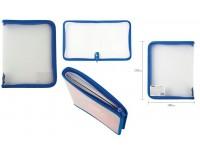 Папка - для тетрадей Пифагор 228225 Формат: А5 23х18 см пластик, молния вокруг, прозрачная, синяя