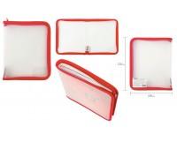 Папка - для тетрадей Пифагор 228224 Формат: А5 23х18 см пластик, молния вокруг, прозрачная, красная