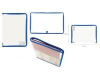 Папка - для тетрадей Пифагор 228215 Формат: А4 33х23 см пластик, молния вокруг, прозрачная, синяя