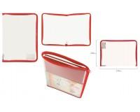 Папка - для тетрадей Пифагор 228214 Формат: А4 33х23 см пластик, молния вокруг, прозрачная, красная