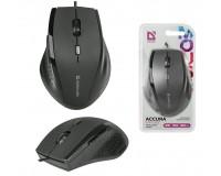 Мышь Defender Accura MM-362 USB Optica (800-1600dpi) черная, 5 кнопок+колесо-кнопка, сверхпрочное прорезиненное покрытие блистер